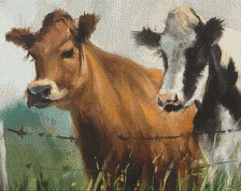 Cows at the Fence Cross Stitch Pattern Instant Download pdf Design