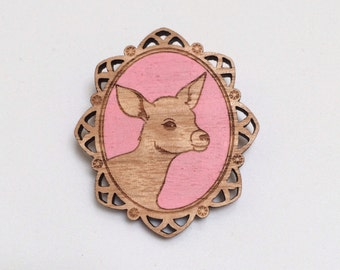 Laser cut wood brooch, Adorable little deer fawn bambi cameo, handpainted pink