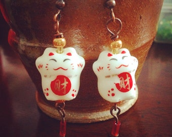 Chinese New Year Lucky Kitty Earrings
