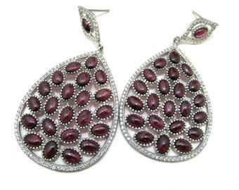 White Rhodium Plated 925 Sterling Silver Earring setted Garnet Gemstone Cabochons & Cubic Zircona Ear Jewelry Beautiful wedding Gift for her