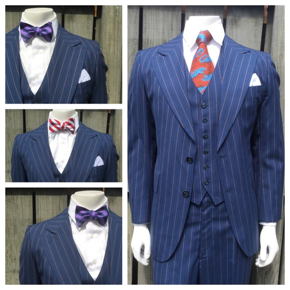 Vintage Mens Blue & Burnt Sienna PINSTRIPE 3 PIECE by bamapana