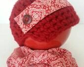 newsboy cap, baby bowtie,newsboy hat, newborn boy hat, newborn girl hat, baby red cap, crocheted hat, crochet newsboy cap, fabric trim hat,