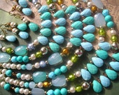 PASCALE 2 Piece Sets Double Strand Necklaces and Dangles Earrings Turquoise Blue Green Orange Drop Faceted Faux Pearl