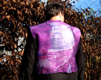 Elves vest, felted vest, wool, elv wood, elv country, elv dream, waterfall, witches, purple, violet