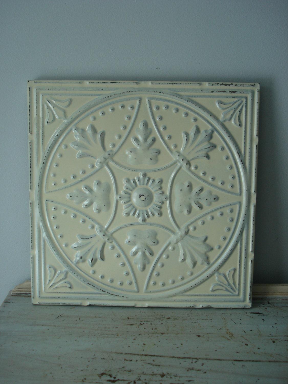 Vintage tin tile wall decor shabby chic tin tile distressed for Shabby chic wall tiles