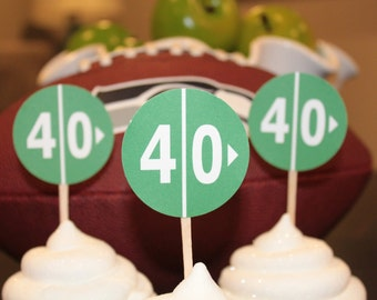 FOOTBALL YARD LINE 20 30 40 50 60 70 Happy Birthday or Baby Shower Cupcake Toppers 12 {One Dozen} - Party Packs Available