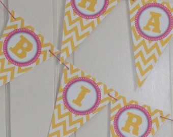 GIRLY CHEVRON Theme Happy Birthday or Baby Shower Party Banner Pink Yellow Blue - Party Packs Available