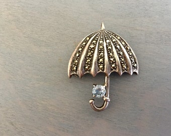 Umbrella Pin, Sterling Silver, Marcasite and Gemstone Blue Crystal, Vintage Brooch, Fine Jewelry Gifts Under 50