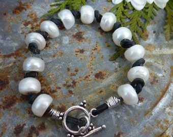 LEATHER AND PEARLS sundance style boho sterling stacking rustic bracelet