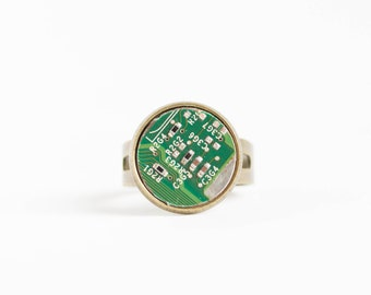 Geeky statement ring - green circuit board - recycled computer