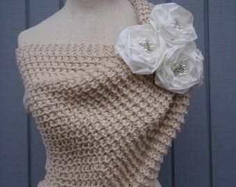 Wedding shawl, Bridal shawl, Wedding accessories, Bridal accessories, Bridesmaid gift, Knitting shawl, Wedding wrap, Handmade flower,
