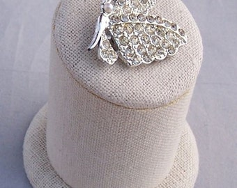 Vintage Rhinestone Butterfly Pin Brooch Beautiful Sparkly c 1950's rhodium plate