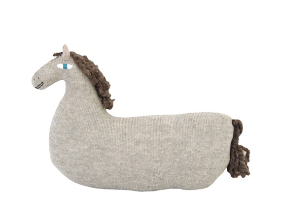 HORSE soft knitted toy/cushion - ecru, light brown