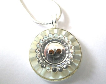 Vintage button pendant, glass mirror button on mother of pearl, silver bezel and chain