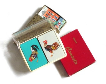 Vintage Playing Card Double Decks Collection 60s 70s 80s Sailing Rooster City Colorful Canasta Retro Game Night