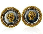 Reserved - Vintage Yves Saint Laurent Lady Cameo Lucite Earrings