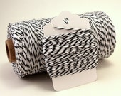 Black Twine - Black and White Striped Bakers Twine - Licorice Divine Twine - Halloween String - Black and White Cord - Classy Gift Wrap