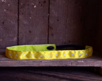 No Slip Headband Yellow Hearts 7/8""
