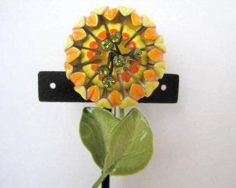 Orange Yellow Flower Brooch - Peridot Rhinestone Center - Collectible  Pin