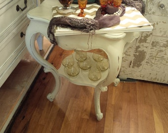 Antique Shabby Chic  End Table w/ Shelf