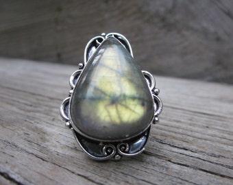 Sterling Silver Labradorite Ring Free Shipping