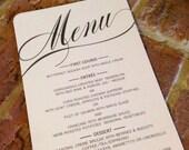 Wedding Menu Card on Pearlized Cardstock, Extremely Elegant!