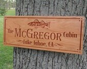 Lake House Signs, Rustic Last Name Signs, Benchmark Custom Signs Cherry TS