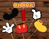 Mickey Mouse photo prop printables, INSTANT DOWNLOAD, Mickey Birthday Photobooth props,