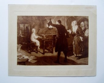 Picture of a young girl playing piano... a man with a lantern and a group of women checking in on her