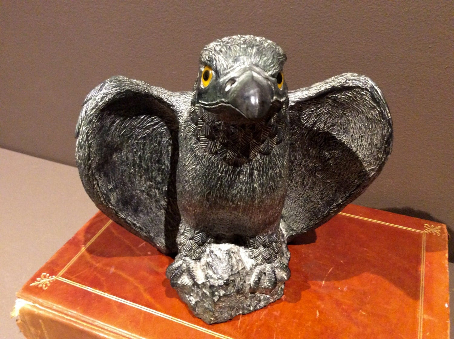 American eagle soapstone carving sculpture wolf original