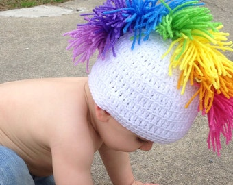 Crocheted Rainbow Mohawk Hat in Baby, Infant, Toddler Sizes
