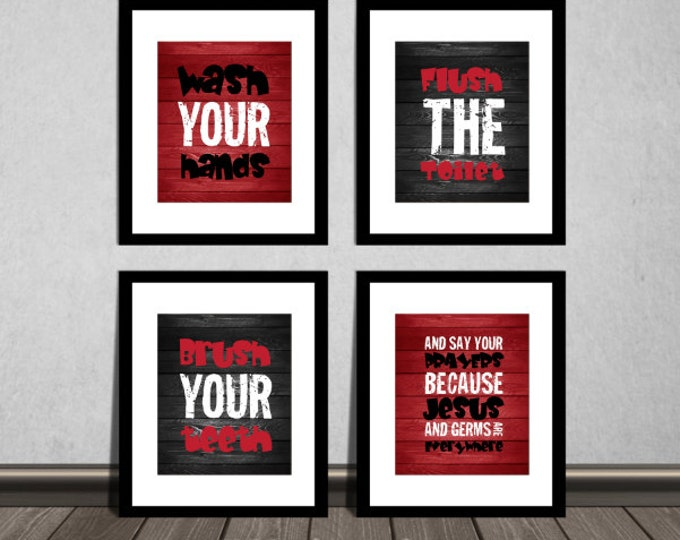 Wash your hands, brush your teeth and say your prayers, Bathroom wall decor, Downloadable. Print it yourself.
