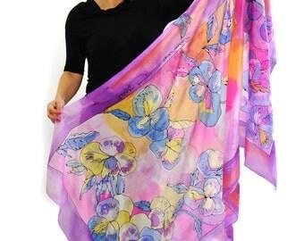 Hand painted silk Shawl/Pink roses/Painting silk shawl/Long silk wrap/Floral luxury silk sarong/Woman silk shawl Painting by hand/H0045