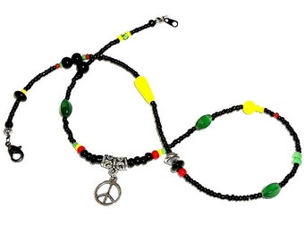 Ankle Wrap - Rasta and Peace Sign