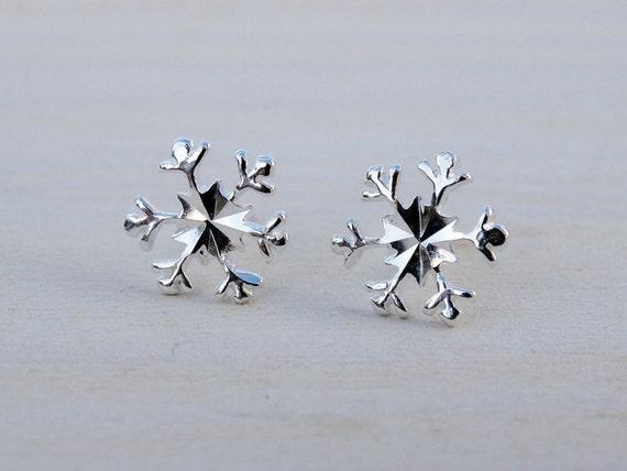 Silver Snowflake Studs - Earrings - Sterling Silver