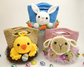 Easter Treat Bags, Bunny, Chick and Lamb, Crochet Pattern