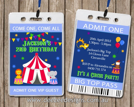Personalised Circus Carnival VIP Lanyard Birthday Invitations x 10