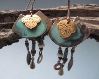 Vintage Mixed Metal Verdigris Dangle Pierced Earrings