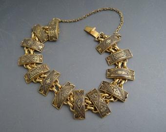 Spanish engraved gold filled bracelet