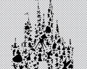 custom 600dpi transparent background 24inchx 24 inch disney character silhouettes castle.. digital download