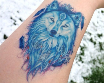 Wolf Temporary Tattoo - Wolf Tattoo - Winter Wolf - Temporary Tattoo - Nature Tattoo - Spirit Animal Tattoo - Wolf Spirit Animal