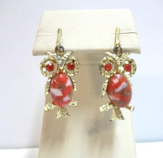 Vintage Hyacinth Rhinestone Orange Owl Earrings Kitschy Owl Earrings DD 7