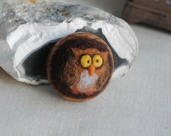 Owl brooch gift jewelry needle felted wool and wood brown owl brooch eco felt jewelry