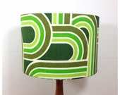 Vintage Retro Green Graphic Fabric Lampshade 30 cm Kitsch