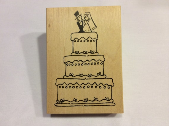 wedding cake stamp wedding cake rubber stamp from never2old2craft on etsy studio 25599