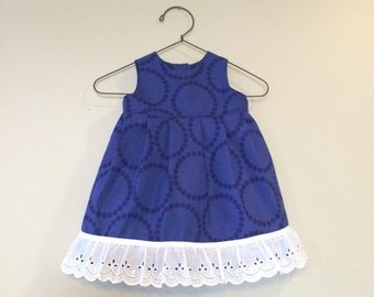 Baby Dress Purple with White Ruffle Trim - sizes 0-3, 3-6, or 6-12 Months