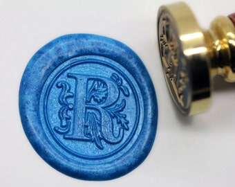 "S1160 Alphabet Letter "" R "" Wax Seal Stamp , Sealing wax stamp, wax stamp, sealing stamp Flower Sytle"