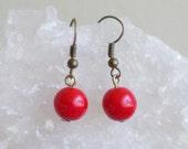 Give away. Czech glass simple dangle earrings, colorful earrings, antique brass finish. E166.