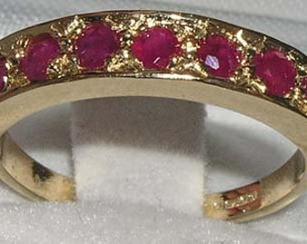 English 14K Yellow Gold Natural Ruby Half Eternity Ring, Seven Stone Engagement Ring - July birthstone -Customize:9K,10K,14K,18K