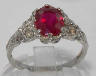 Solid 925 Sterling Silver Ruby Solitaire Ring, English Victorian Style Anniversary Ring - Customizable